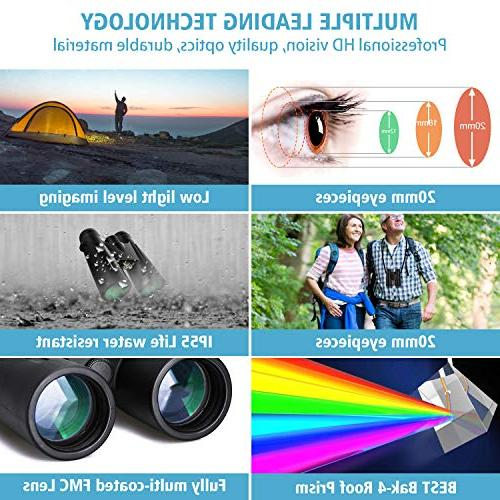 12x42 Binoculars for Professional HD for Watching Hunting Clear Light Vision - BAK4 Prism Lens Bag