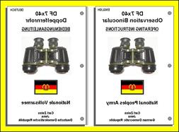 NEW - DF 7X40 ZEISS NVA BINOCULARS OPERATORS MANUAL ENGLISH